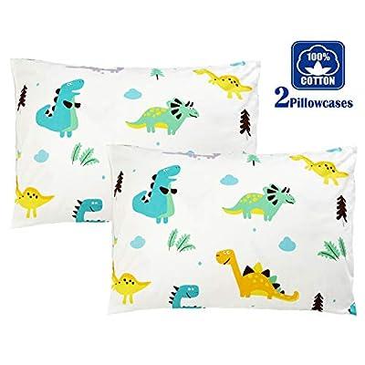 Brandream Kids Pillow Cases Set of 2 Standard 100% Cotton Dinosaur Pillow Covers Decorative: Home & Kitchen