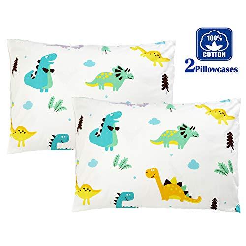 Brandream Kids Pillow Cases Set of 2 Standard Size 100% Cotton Dinosaur Printing Pillow Covers Decorative Pillow Cases
