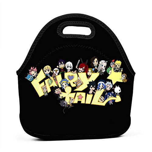 Neoprene Blue Dot Lunch Tote Bag - Insulated Waterproof Lunch Box, Fairy Tail Fans