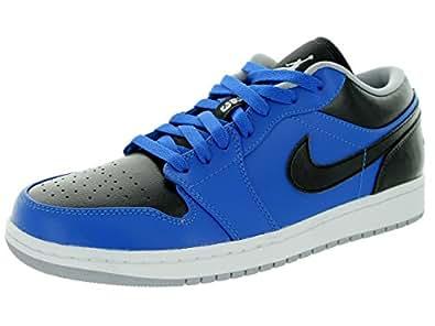 Nike Jordan Mens Air Jordan 1 Low Sport Blue/Wolf Grey/Black Basketball Shoe 11 Men US