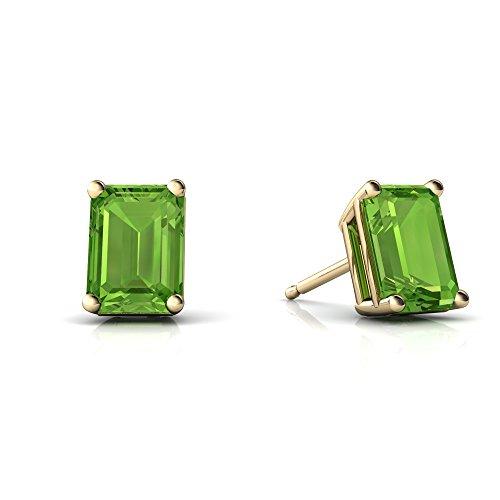 14kt Yellow Gold Peridot 7x5mm Emerald_Cut Emerald-Cut Stud ()