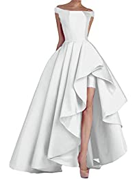 Womens Off Shoulder Long Evening Prom Dresses High Low Formal Gowns