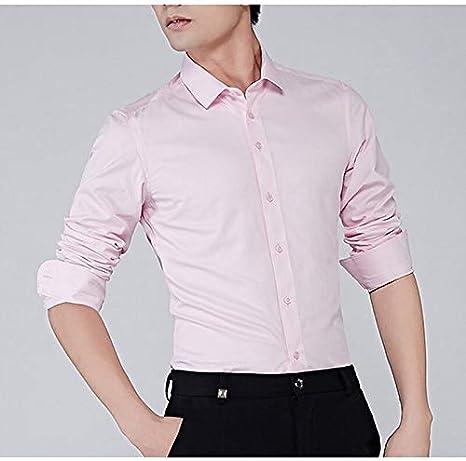 IYFBXl Camisa de algodón de Talla Grande para Hombre - Cuello de Camisa de Color sólido, Rosa, XXXL: Amazon.es: Deportes y aire libre