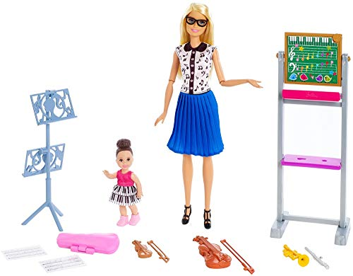 Barbie Music Teacher Doll, Blonde, and Playset with Flipping Chalkboard, Brunette Student Small Doll and 4 Musical Instruments, Career-Themed Toy for 3 to 7 Year Old Kids