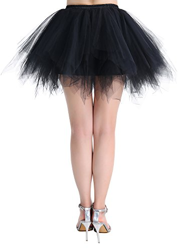 Dressystar Mujer Cancan Tutu Enagua Corta Mini De Tul Danza Fiesta Disfraces Black