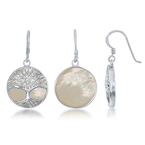 Sterling Silver Mother of Pearl Tree of Life Circle Dangle Earrings Circle Mother Of Pearl Earrings