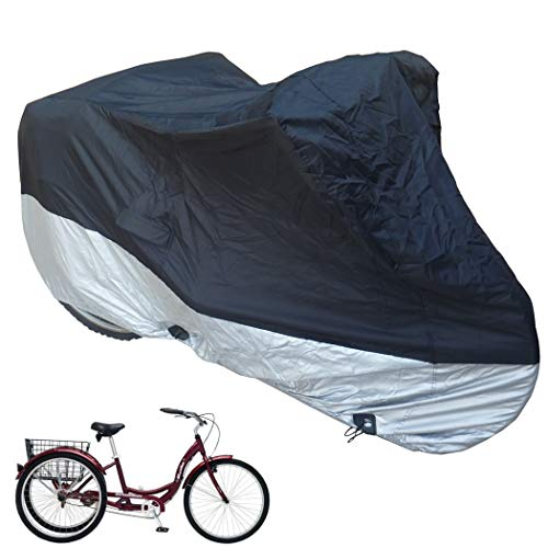 Formosa Covers Adult Tricycle Cover fits Schwinn, Westport and Meridian - Protect Your 3-Wheel Bike from Rain, Dust, Debris, and Sun When Storing Outside or Inside - Black ss400 75