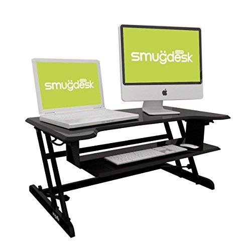 Smugdesk Standing Desk, Stand up Adjustable Desk Riser Converter for Desktop Laptop Dual Monitor