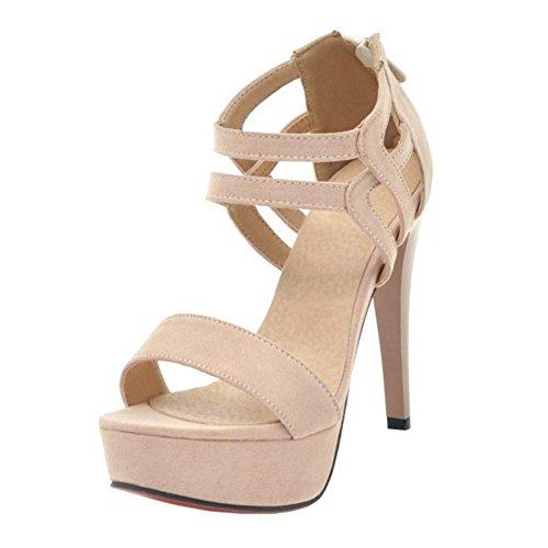 Caviglia Donna Beige alla Stiletto TAOFFEN Cinturino Sandali 3 dBqxaXXU