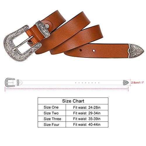 Ladies Western Leather Belts Cowhide Leather Jeans Belt Vintage Dresses Skinny Belt Adjustable Metal Buckle 28''-34'' Gift Box Brown by XZQTIVE (Image #5)