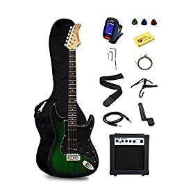 Stedman Pro EG39-TGRB-10W Beginner Series Electric Guitar with Case, Strap, Cable, Capo, Picks, Electronic Tuner, String…