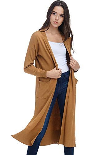 AD Womens Casual Longline Knit Cardigan Sweater W Side Slit (H. Mustard, Small/Medium)