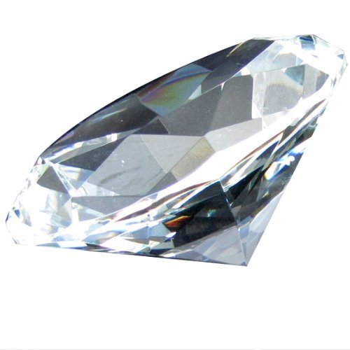 Giant 100 mm Clear Cut Glass Faceted Crystal Diamond by ESD