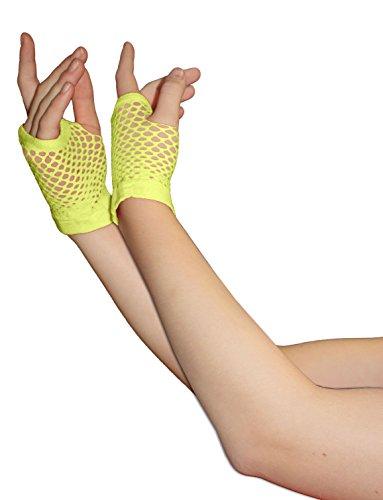 Adults Short & Long Fingerless Fisnet Gloves Raves Parties 1980s Fancy Dress - Pick & Mix (Yellow - Small) -