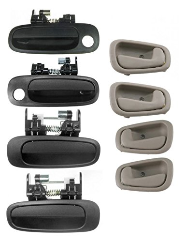 Door Handles Inner Inside Outer Outside Tan & Black Set of 8 for Corolla Prizm