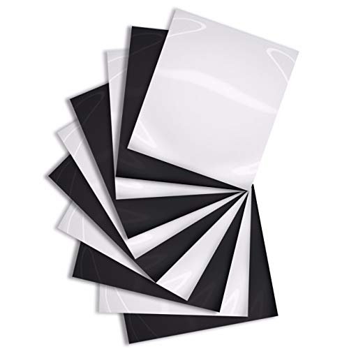 (MiPremium PU Heat Transfer Vinyl in Black and White, Iron On Vinyl Starter Pack (10 x Sheets) for T Shirts Sports Clothing Other Garments & Fabrics, Easy Weed, Cut & Press (Black & White x 10))