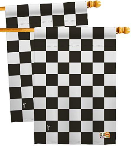 Americana Home & Garden HP140824-P3AE Black Checker Special Occasion Merchant Impressions Decorative Vertical 28