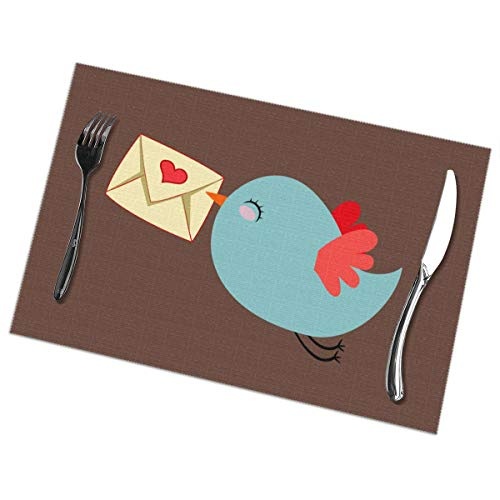 Placemats for Dining Table Set of 6 Mail Carrier Bird Wear-Resistant Heat-Resistant Kitchen Table Mats 18