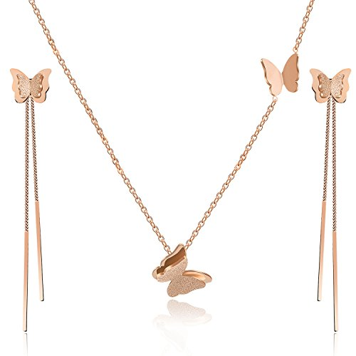 - EVEVIC Stainless Steel Butterfly Necklace Earrings Set for Women Girls 14K Gold Plated Jewelry Sets