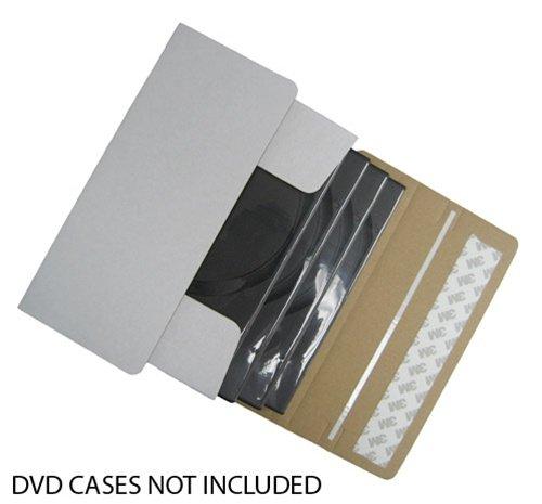 mediaxpo Brand 25 DVD Cardboard Box Self Seal Mailers (Ship 1-4 DVDs in DVD Cases)