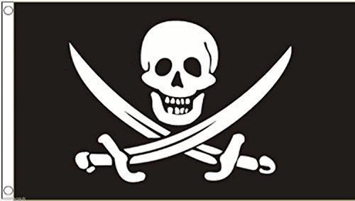 Calico Rackham Flag Jack - Pirate Skull 'Calico' Jack Rackham Flag 3'x2' (90cm x 60cm) - Woven Polyester