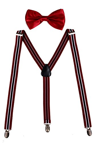 Sunny Ocean Black Bowtie Mens Black Suspenders and Bow Ties Red Black Stripe (Where To Buy Red Contacts)