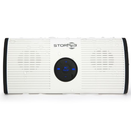 STORMp3 Water Resistant Mp3 Speaker, Internal Memory, Portable, Brilliant Sound, White or Black, 2 GB Storage