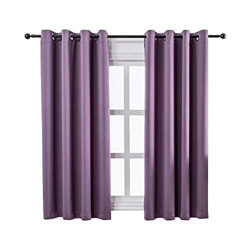(MANGATA CASA Bedroom Blackout Curtains Grommet 2 Panels,Thermal Window Curtain Panel for Living Room Darkening Drapes (Purple,52x63inch))