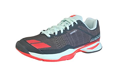 Babolat Women's jet team All Court tennis shoe, Grey/Red/Blue (6.5)