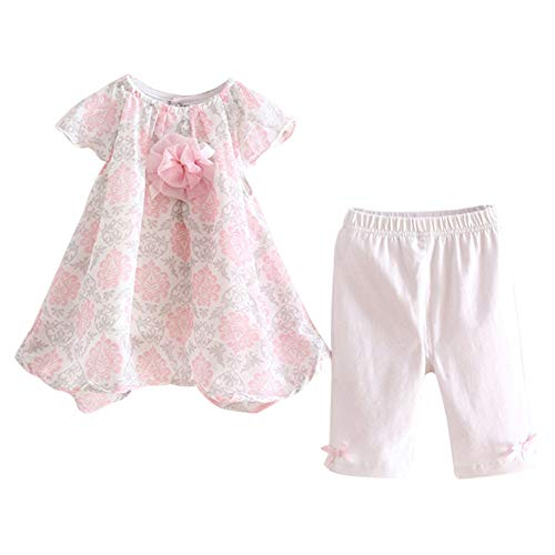 (LittleSpring Baby Girls Summer Outfit Floral Cap Sleeve Top and Pants Set White-Rose Size 12M)