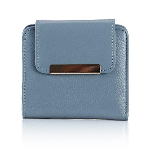 (Lady Mini Leather Trifold Wallet Slim Purse Credit Card Clutch Holder Vintage Short Wallets for Momen (Refreshing blue))