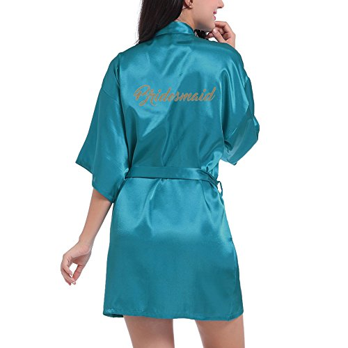 (Oliveya Women's Satin 3/4 Sleeve Plus Size Kimono Robe With Matching Sash Short Length)