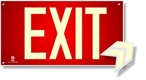 (Photoluminescent Exit Sign Red W/Holes and Hardware - Aluminum Code Approved UL 924/IBC/NFPA 101)