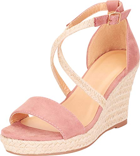 Cambridge Select Women's Crisscross Strappy Espadrille Chunky Platform Wedge Sandal,9 B(M) US,Dusty Pink IMSU