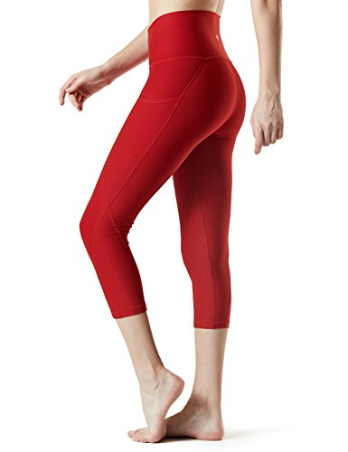 TSLA Yoga Pants 21 inches Capri High-Waist Tummy Control w Pocket, Pocket Thick Contour(fyc34) - Red, Small (Size 6-8_Hip37-39 Inch) ()