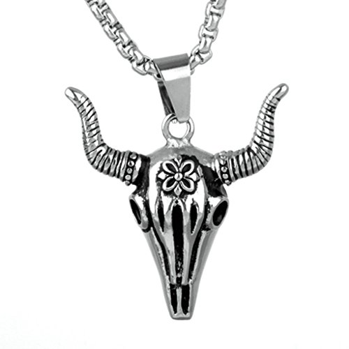 Epinki Fashion Jewelry Stainless Steel Men Necklace Punk Rock Retro Cow's Head Silver Pendant Necklace