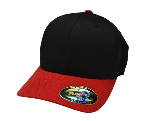 Flexfit 6277 Wooly Combed Twill Cap - Large/XLarge (Black/Red)