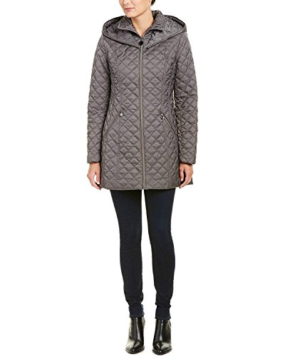 Coat Laundry Quilted (Laundry by Shelli Segal Womens Quilted Coat, M, Grey)