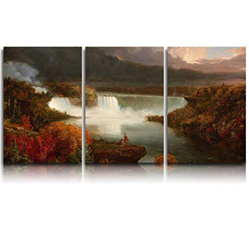 3 Pieces Canvas Print Wall Art for Office/Livingroom/Bedroom Thomas Cole - Distant View of Niagara Falls Stretched and Framed Modern Giclee Artwork Wall Decor 24x36inx3]()