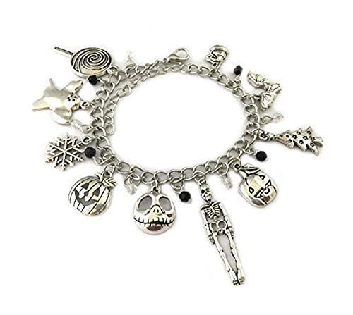 Silver Nightmare Charm Bracelet - Jack Skellington Before Christmas Horror Jewelry Valentine Gifts for Women