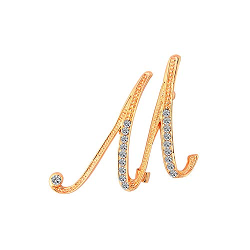 Dwcly Crystal Script Initial 26 Letter Brooch Pin A -Z Gold Plated Clear Natural Alphabet Monogram Lapel Badge (M)