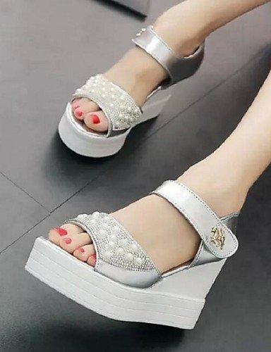 Uk6 Silver Zapatos Sandalias Blanco Tac¨®n Vestido Mujer Comfort Cn39 Cn36 us6 Semicuero Eu39 us8 a Cu Silver De Eu36 Plata Zq Uk4 ZdqTZ