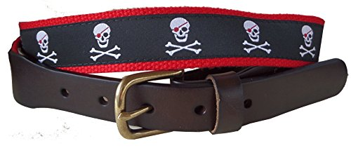 No27 Mens Jolly Roger Leather Belt, Leather Tab and Buckle, Jolly Roger on Black Ribbon with Red Webbing (Jolly Ribbon)