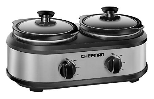 Cheap Chefman RJ15-125-D Double Slow Cooker & Buffet Server with 2 Removable 1.25 Qt. Oval Crocks, Pot Inserts Individually Heat Controlled, 2.5 Quarts, Stainless Steel