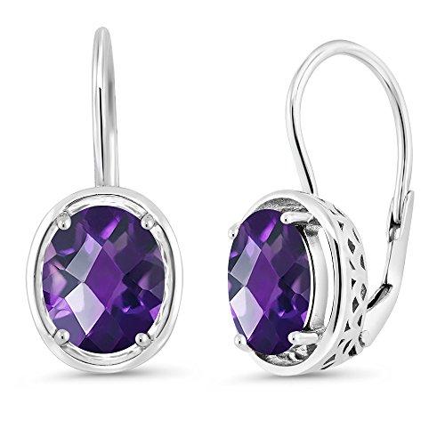 Gem Stone King 3.00 Ct Oval Checkerboard Purple Amethyst 925 Sterling Silver Dangle Earrings ()