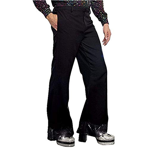 iiniim Black Mens Disco Pants with Sequin Cuff Bell Bottom Flared Long Pants Trousers Dude Costume Black XL ()