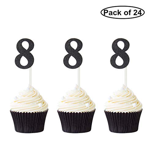 - Pack of 24 Number 8 Cupcake Toppers Black Glitter 8th Birthday Cupcake Picks Anniversary Party Decor