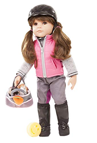 "Gotz Hannah Loves Horseback Riding 19.5"" All Vinyl Posable Doll with Brown Hair and Brown Eyes - 20 Piece Set with Riding Accessories & Change of Clothes"