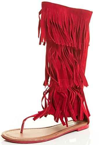 Womens Multi Color Flat Ziper Moccasins Tassels Fringe Summer Mid Dress Sandal Shoes Red AAK90yZzL9