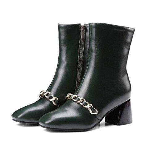 Courtes Taille 41 Rough GREEN Grande Talon Bottes Carré Femmes Chevalier 40 Zipper Dames Chaussures Talon Cone Hiver Bottes 46 BOTXV Side Tête qxXFAw